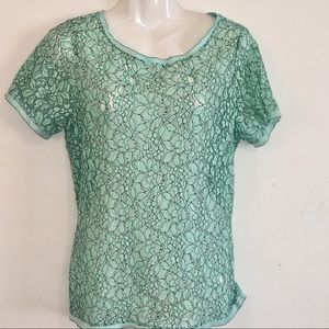 Ann Taylor Loft Mint Lace Tunic Top Exposed Zipper